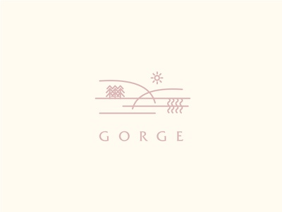 Gorge Logo pine mountains river pnw outdoors valley gorge typography logo identity brand