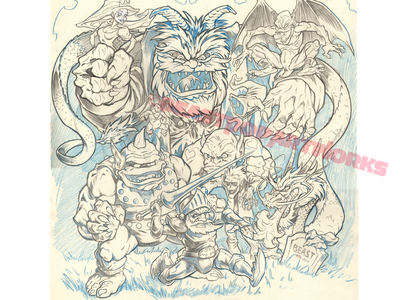 GHOSTS 'N' GOBLINS pencil artwork arcade monsters dungeons  dragons capcom nes nintendo video games