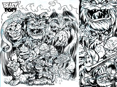 GHOSTS 'N' GOBLINS inked artwork arcade monsters dungeons  dragons digital inking capcom nes nintendo video games