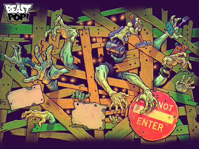 NERF: ZOMBIE STRIKE package art final artwork kids packaging art toys zombies hasbro nerf