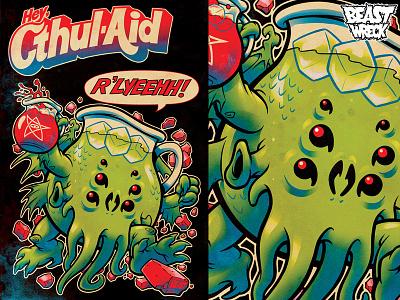 CTHUL-AID mascot parody kool-aid man kool-aid lovecraft cthulhu