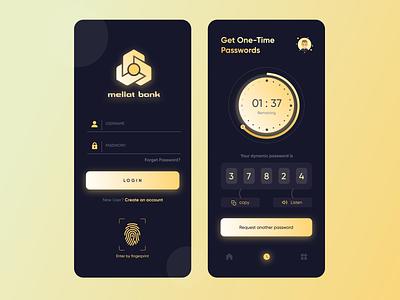 OTP Generator App newuser enter new username clock password signup login fingerprint timer bank app banking app banking ui ux ui design ui userinterface color app design