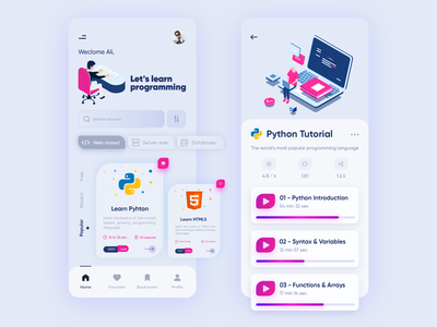 Programming Languages App popular design lesson like server database search mobile web learning app programming language html html5 python programming programmer tutorial video design ui app