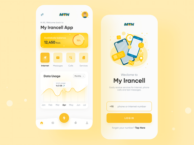 My Irancell App Redesign ui ux app design network mobile internet use charge balance login analysis data usage call message internet app mtn irancell iran ui design