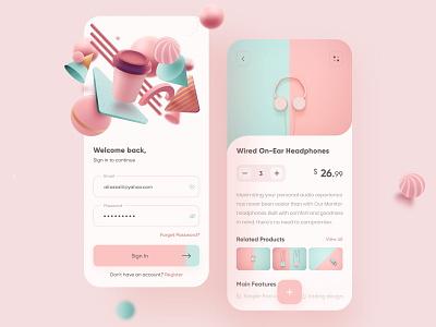 Online Store App splash welcome pink app design mobile ui design design headphone online shop product sign up sign in register login app store