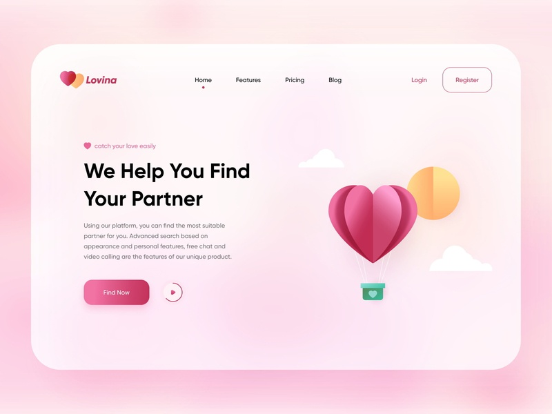 Love Finder Website glass pink website design webdesign register login landing cloud balloons finder homepage partner love website web