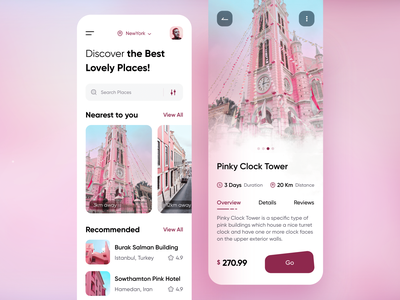 Travel App Design discover trip app lovely places booking ticket tour mobile app traveling travel agent travel app app trip tourism pink vacation tours travel