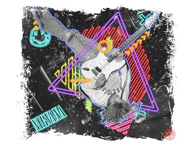 Kurt Cobain in Nirvana photoshop grunge graphic design neon colors neon abstract art nirvana cobain kurt cobain