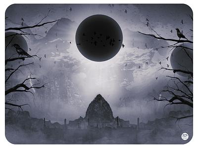 Eternal Eclipse foggy fog mist moutains mountain black metal black sun eclipse photoshop art photoshop
