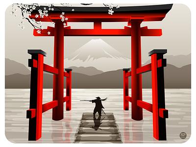 Lonely Samurai landscape illustraion design flat illustration illustration flat  design flatdesign japan tample gates gates ninja samurai