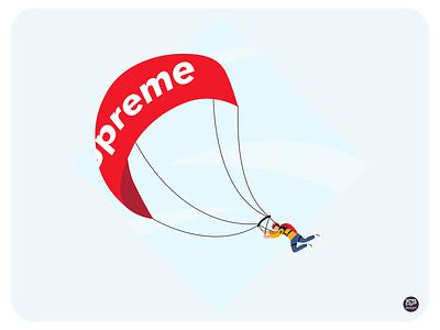 High Fly hypebeast hyperbeast supreme skydive skydiving parachute parachute man illustraion design flat illustration illustration flat  design flatdesign