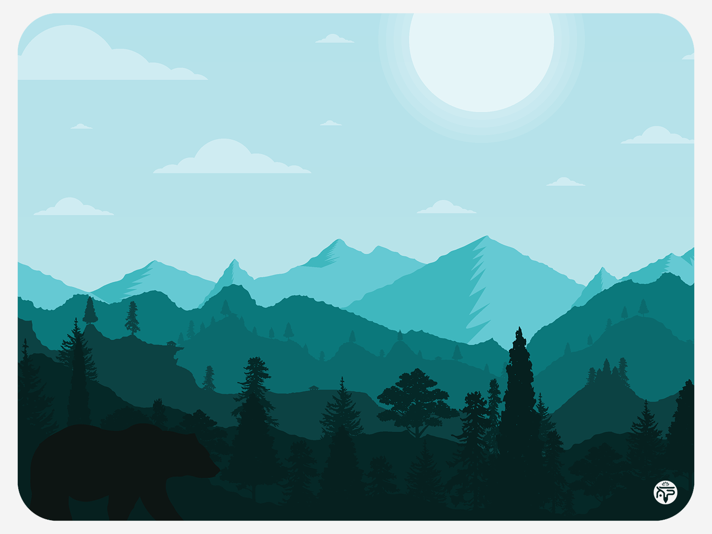 Landscape (pt 2) - Day flat illustration flat  design flatdesign sun bear clouds trees mountains landscape day illustration