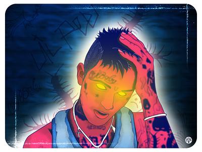 Lil  Peep vectorportrait portrait tattoo rapper man illustraion design flat illustration flat  design flatdesign illustration vectorart lilpeep lil peep