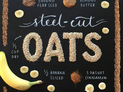 Handcrafted Recipes - Oats recipe food oats banana chalk food lettering food typography food type