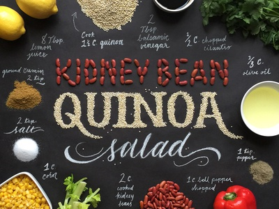 Handcrafted Recipes - Quinoa Salad food lettering typography quinoa beans chalk food lettering food type food typography