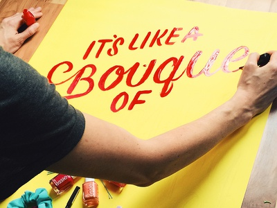 Target Behind-the-scenes target bouquet script lettering sign painting nail polish