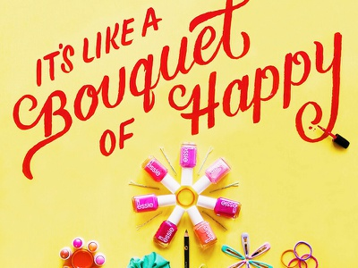 Target Spring Social Campaign - 2 happy bouquet typography nail polish sign painting hand lettering lettering