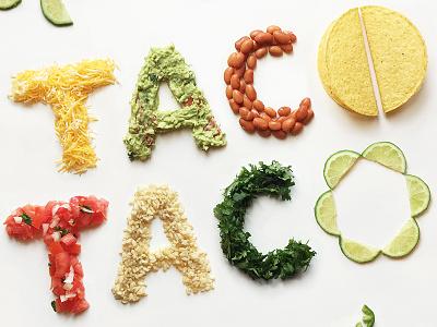 Taco Taco limes salsa guacamole hand lettering lettering food typography food lettering food mexican taco