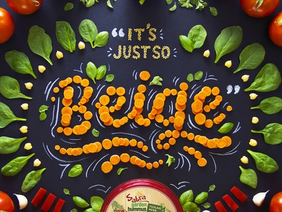 Sabra Hummus Ad handcrafted flourish hand lettering lettering food orange food type food typography food lettering vegetables spinach carrots