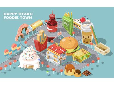 Happy Otaku Foodie Town ice cream french fries hamburger milktea coca-cola food and drink 2.5d illustration art