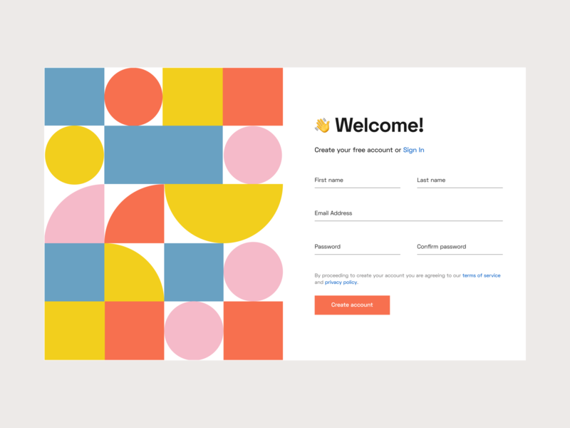 Daily UI 001 – Sign Up form geometic web design sign up registration form daily ui challenge daily ui web ui design