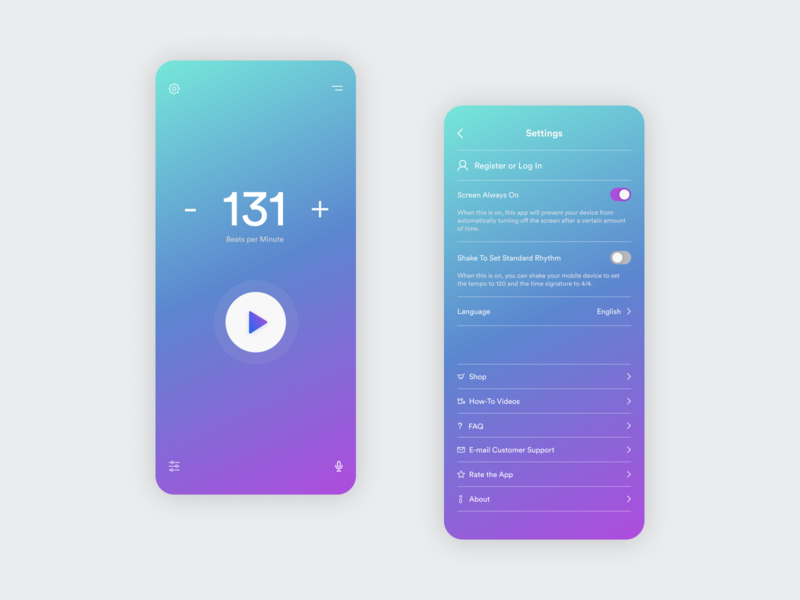 Daily UI 015 – On/Off Switch metronome switch settings gradient simple mobile app mobile application app interface ux ui design daily ui challenge daily ui