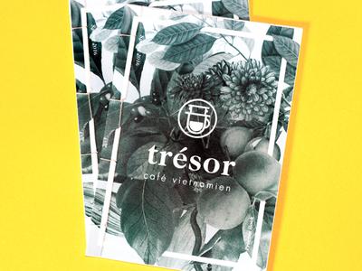 trésor · logo development book process layers plants foliage logo branding coffee