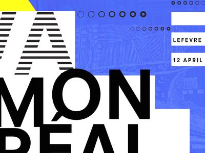 On va à Montréal ! teture layered map shapes geometric typography