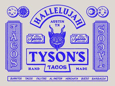 Tyson's Tacos Branding Flash illustration logo graphic design design typogaphy devil restaurant tacos austin branding brand design brand identity
