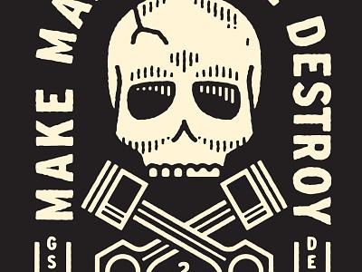 Demolition Derby Skull hot rod texture typography car graphic design skull