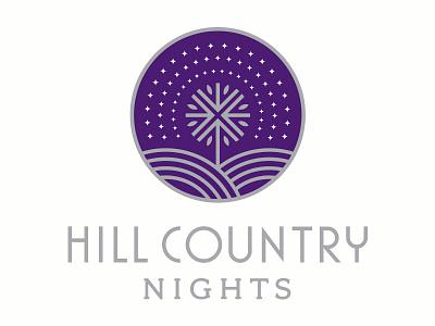 Hill Country Nights Logo texas stars tree austin country hill identity logo