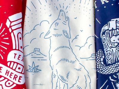 Hitch Bandanas blue white red illustration skull agave howl coyote desert texas west bandana