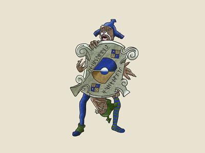 Four Guards goblin jim henson creature hand drawn magic dance illustration labyrinth