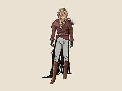 Jareth goblin jim henson creature king david bowie hand drawn magic dance illustration labyrinth