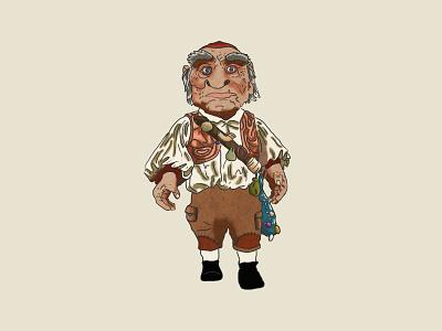 Hoggle goblin jim henson creature hand drawn magic dance illustration labyrinth