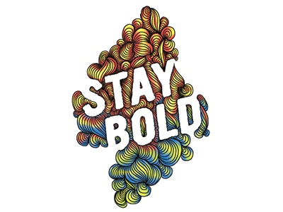 Stay Bold wavelengths waves digital painting bold color hand lettering illustration lines