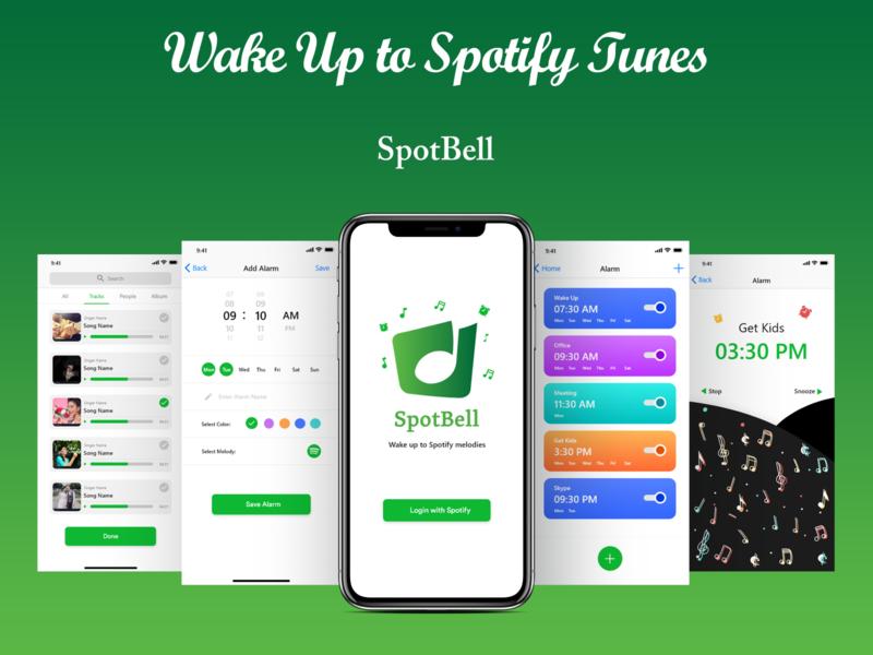 Spotify Alarm App - UI Design logo design ui wake app alarm spotify