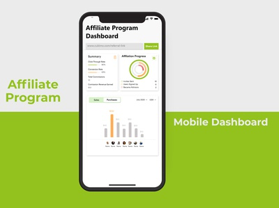 Mobile Dashboard ux mobile ui charts data comission advertising program affiliate dashboard mobile
