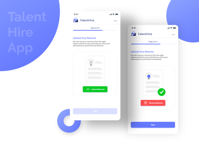 Talent Hire App uiux mobile online design ux ui upload profile cv resume app aquisition hire job talent