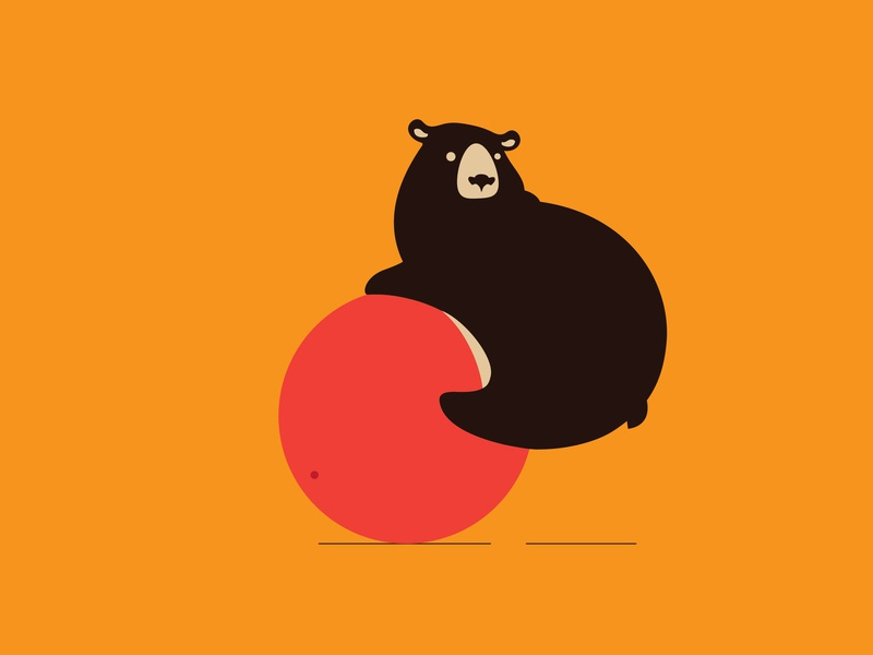 Bear and ball (2) orange symbol bear ball illustration design