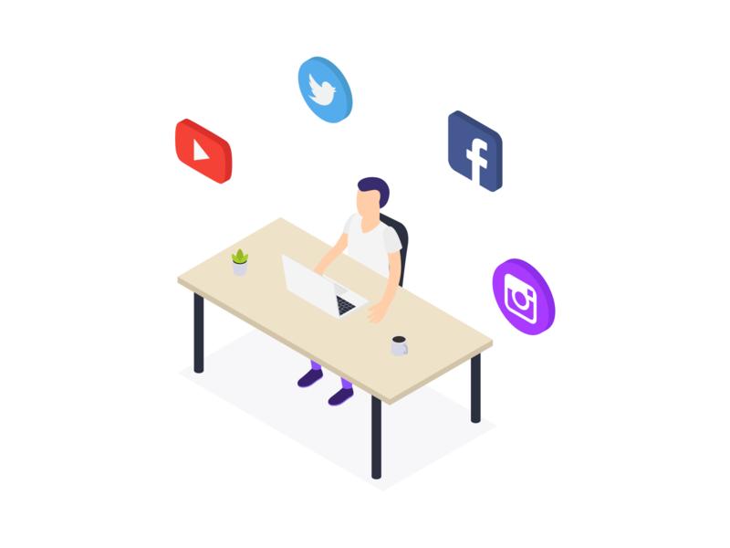 Social Media Advertising download vector svg free isometric illustration web social marketing social ad adv advertising social media