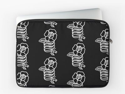 Boys Can Cry Laptop Sleeve black and white feminist occult metal punk goth flowers tattoos roses tattoo design tattoo art