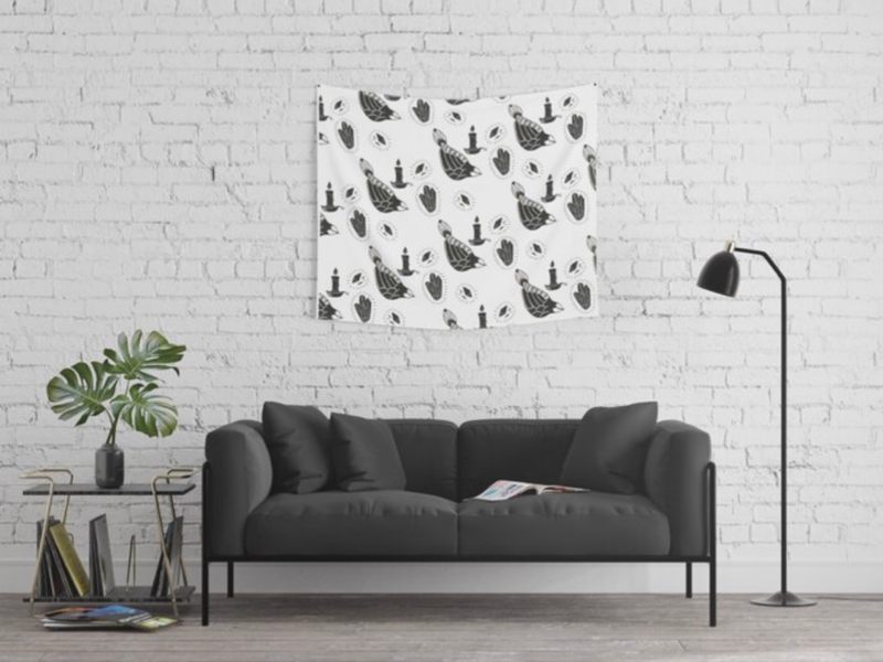 Birds and Candles Tapestry candles birds witch tattoo art digital art surface pattern interior design decor