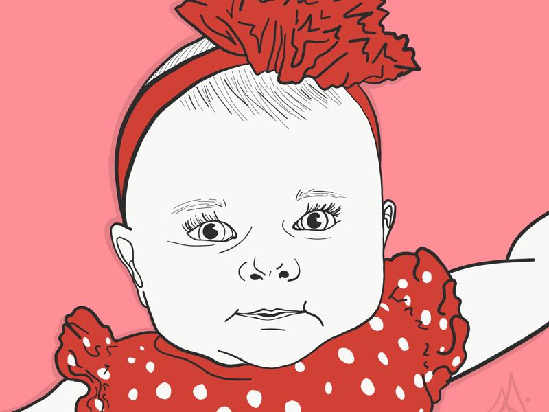 Baby Portrait custom design cute baby vector art adobe draw pop art commissions open digital art portraits baby photo