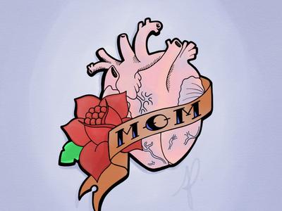 Mom Heart Tattoo design