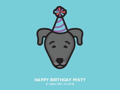 Misty flat birthday digital vector illustration dog