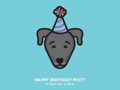 Misty flat birthday digital vector illustration dog