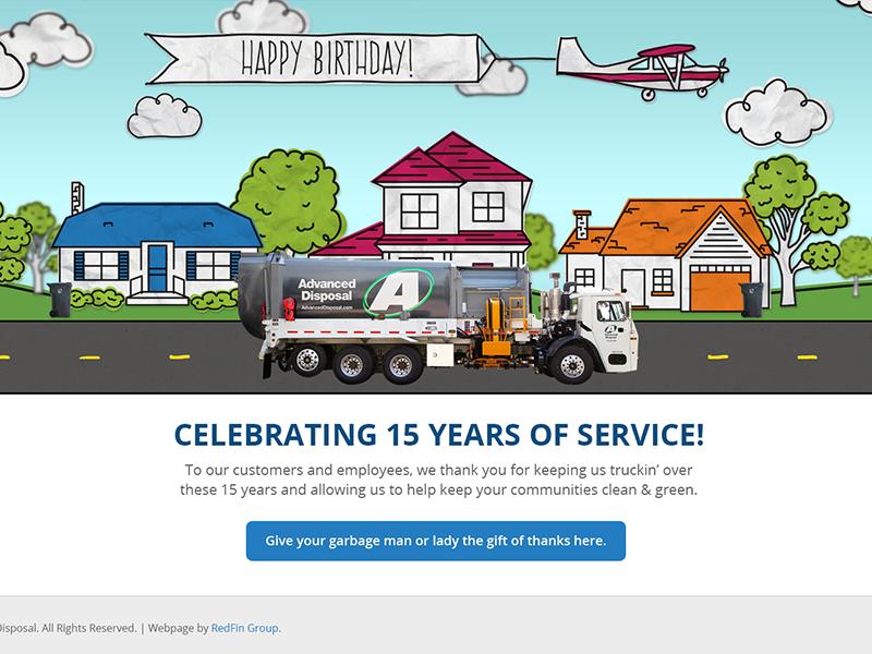 Happy Birthday Advanced Disposal animation illustrations landing page website birthday
