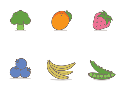 Eat Your Fruits And Veggies Icons illustrations icons vegetables veggies fruit
