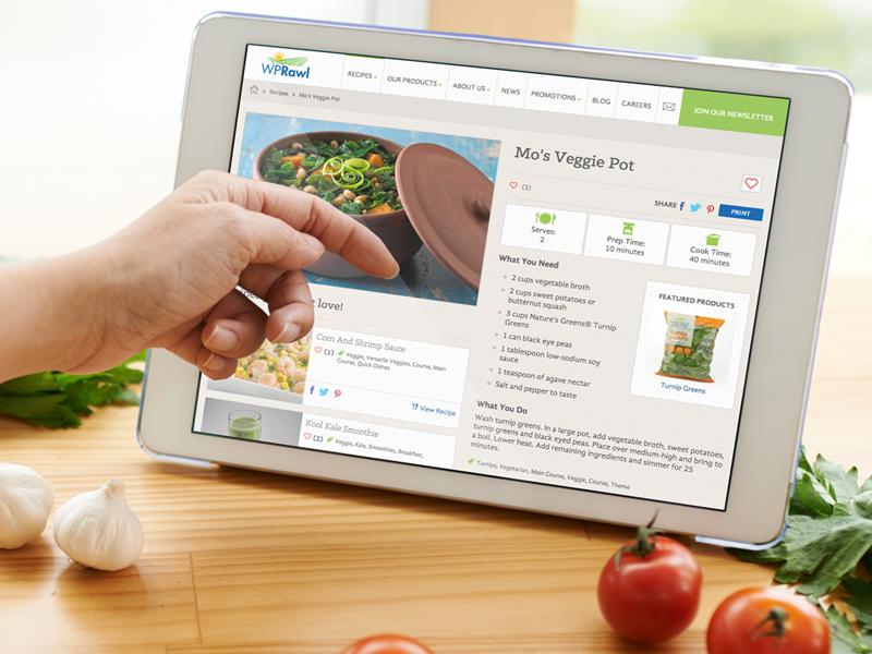 WPRawl Responsive Website vegetables card layout website food recipes farm produce responsive website